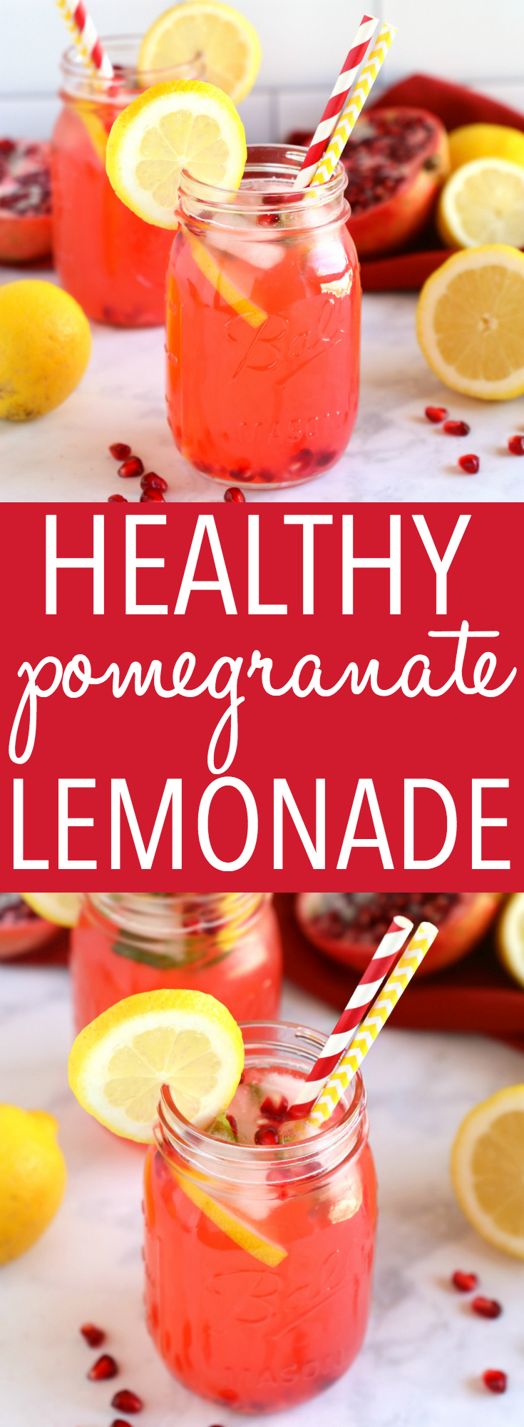 This Healthy Pomegranate Lemonade is the perfect summer drink made with fresh pomegranates, lemons, and sweetened naturally with no refined sugar! It's easy to make and so refreshing! Recipe from thebusybaker.ca! #healthy #lemonade #pomegranate #summer #drink #refreshing #easy #recipe #honey #refinedsugarfree #lowcalorie via @busybakerblog