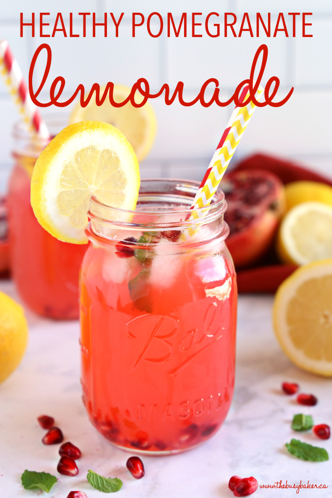 Healthy Pomegranate Lemonade with text