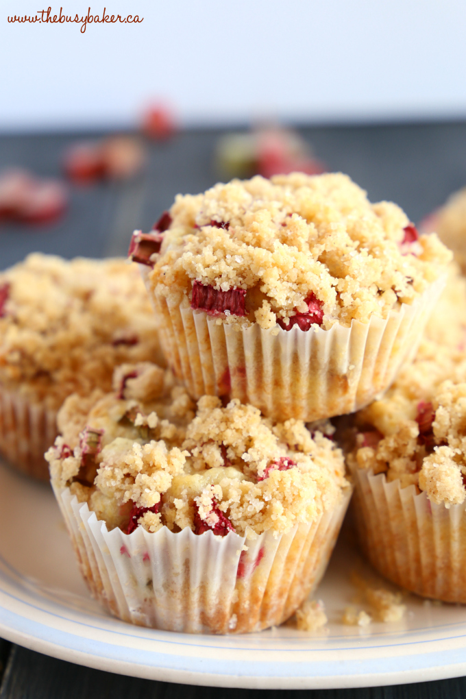 Best Ever Rhubarb Streusel Muffins on plate with streusel topping