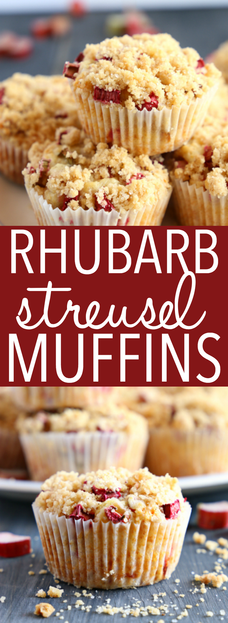 These Best Ever Rhubarb Streusel Muffins are the perfect sweet snack! This is such an easy recipe that's packed with fresh rhubarb and a sweet, crunchy streusel topping!  Recipe from thebusybaker.ca! #rhubarb #recipe #summer #dessert #crumble #cobbler #streusel #streudel #muffins #easy #fun #spring #homemade #video #fruit #homesteading #gardening via @busybakerblog