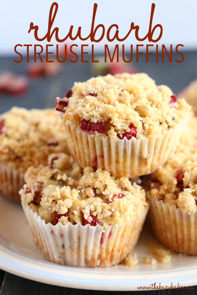 Best Ever Rhubarb Streusel Muffins on plate with crumbs