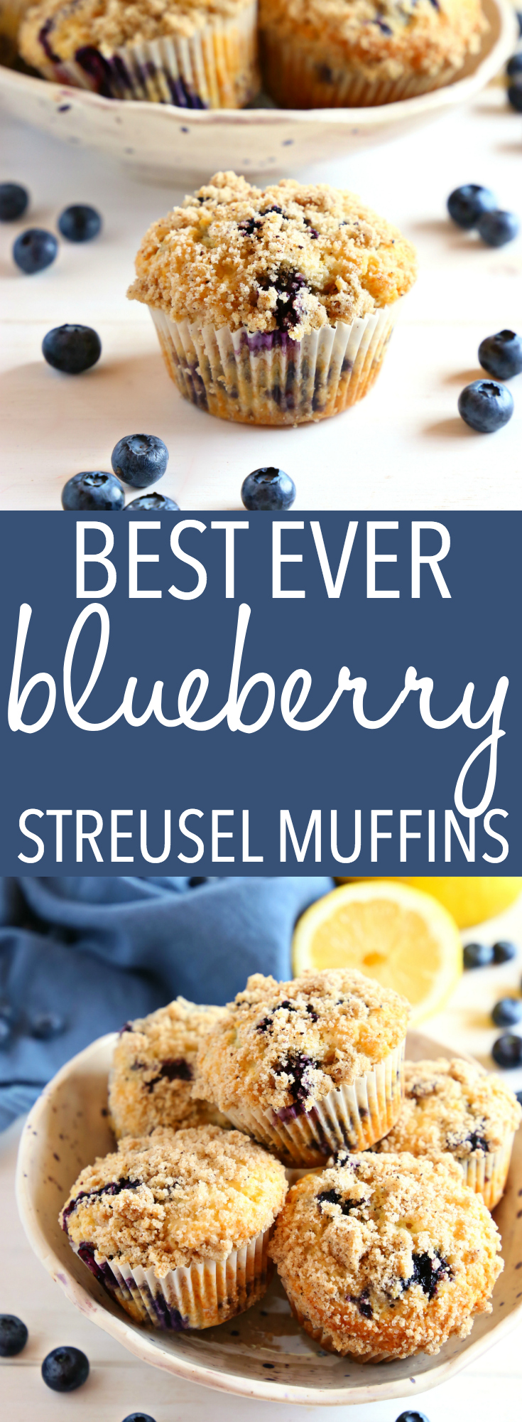 These Best Ever Blueberry Streusel Muffins are the perfect sweet snack! This is such an easy recipe that's packed with fresh blueberries and a sweet, crunchy streusel topping! Recipe from thebusybaker.ca! #blueberry #muffins #bestever #best #recipe #fruit #healthy #homemade #sweet #snack #homesteading  via @busybakerblog