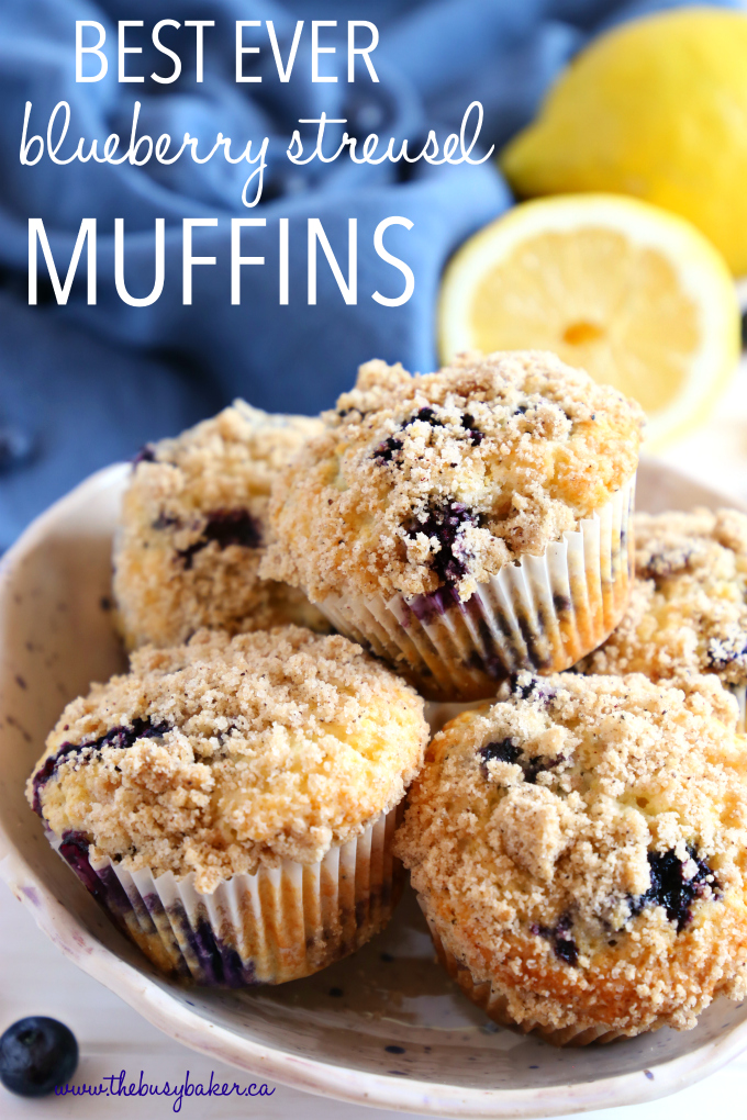 Best Ever Blueberry Streusel Muffins with fresh blueberries and lemons