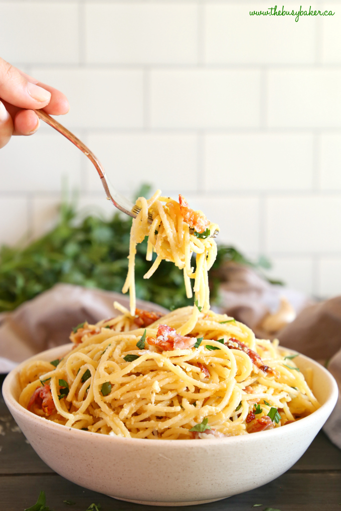 Easy 15-Minute Pasta Carbonara on fork
