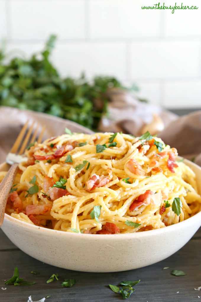 Easy 15-Minute Pasta Carbonara in pasta bowl with copper fork