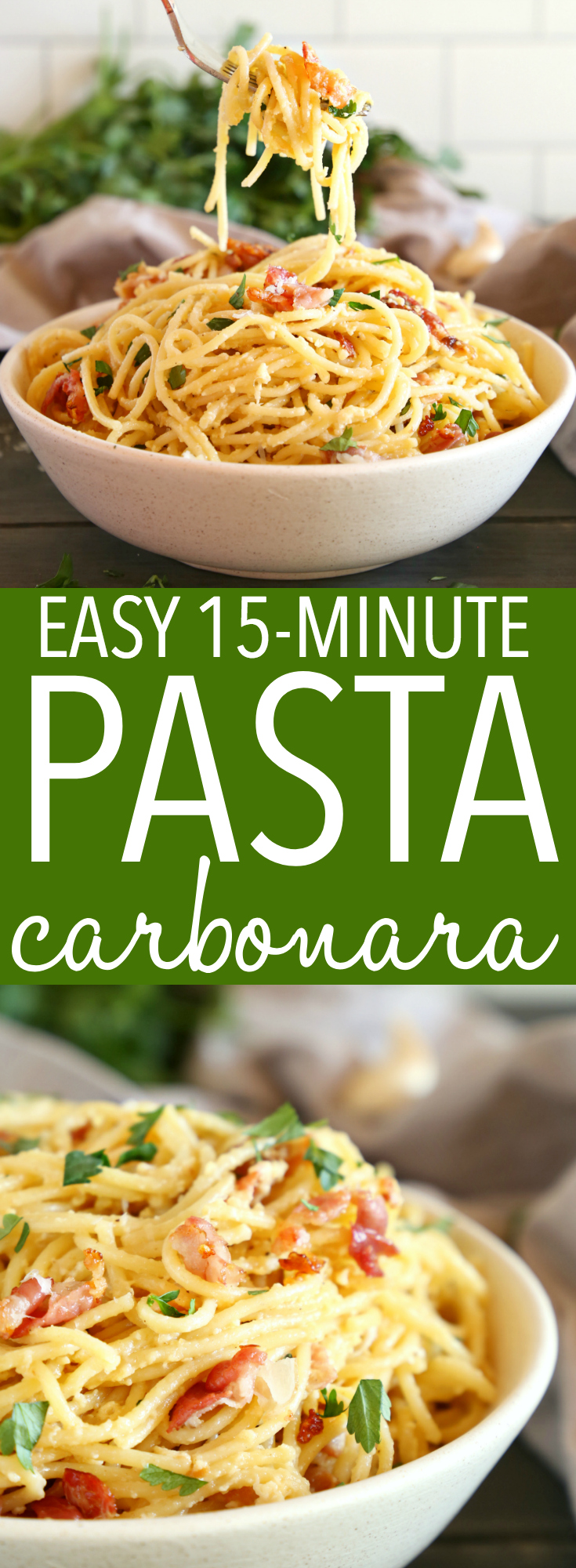 This Easy 15-Minute Pasta Carbonara is a simple weeknight meal made in minutes with basic ingredients you probably already have in your kitchen! Recipe from thebusybaker.ca! #pasta #carbonara #15minutes #easy #meal #dinner #supper #homemade #mealidea #mealplanning #mealprep #healthy #simple #easyrecipe #recipe #carbs #comfortfood #weeknightmeal #bacon #eggs via @busybakerblog