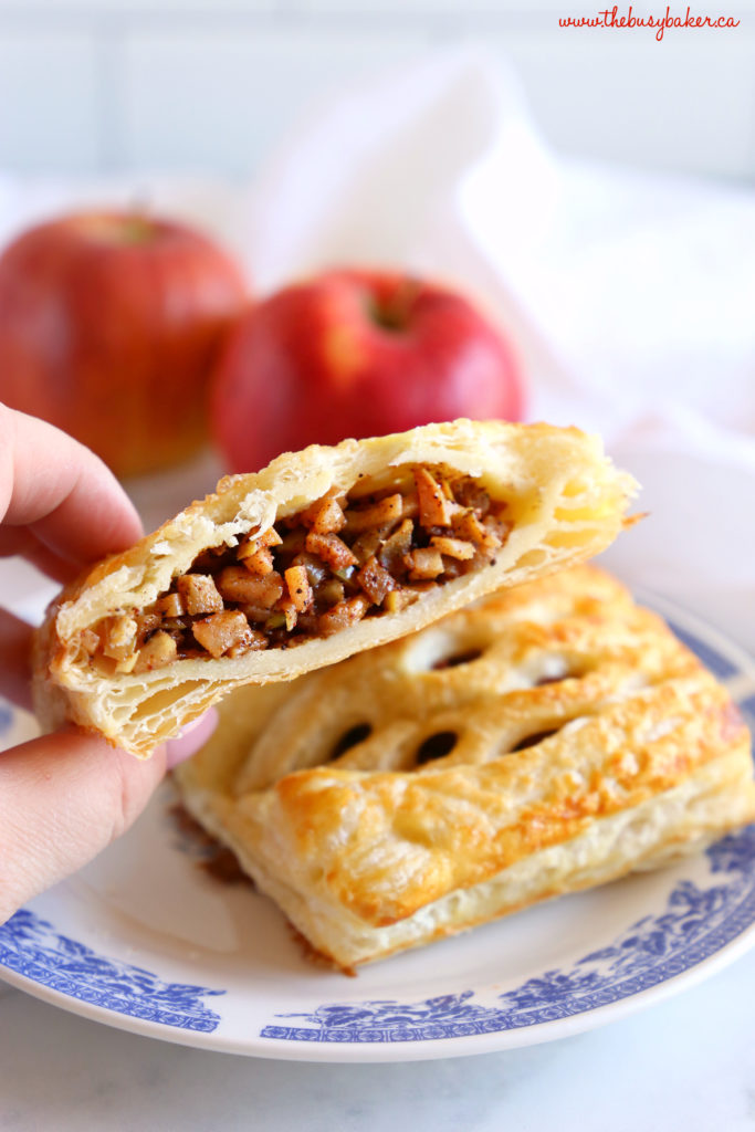 Easy Homemade Apple Strudel spiced filling with red apples and sugar