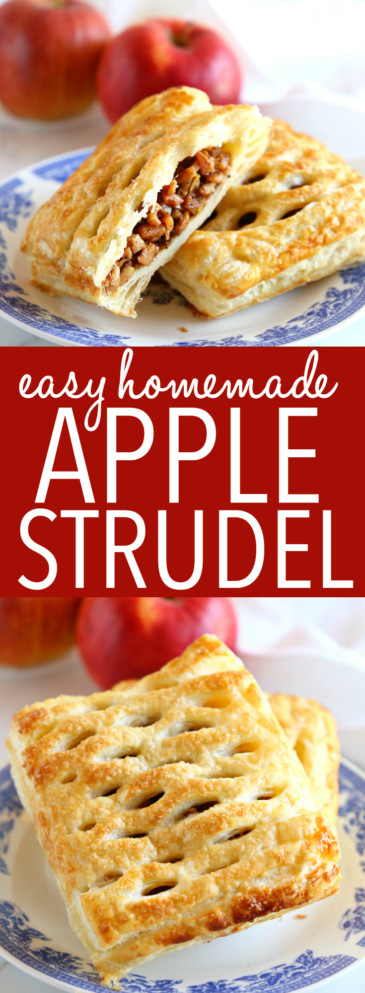 This Easy Homemade Apple Strudel is the perfect easy homemade pastry treat that's great for breakfast, dessert or a snack! It's SO easy to make at home and perfect for apple season!! Recipe from thebusybaker.ca! #apple #apples #strudel #streudel #dessert #snack #breakfast #brunch #pastry #danish #homemade #puffpastry #decadent #seasonal #fall #harvest #autumn #comfortfood #recipe