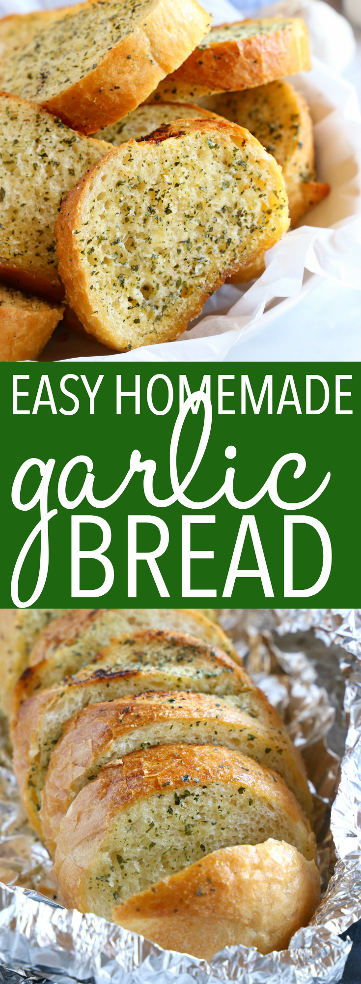 This Easy Homemade Garlic Bread belongs on every family's table! It's SO easy to make and it's delicious alongside your favourite Italian dishes! Recipe from thebusybaker.ca! #garlic #bread #homamade #easy #recipe #italian #spaghetti #sidedish #garlicbread #homemadebread #oven #baked #herbs via @busybakerblog