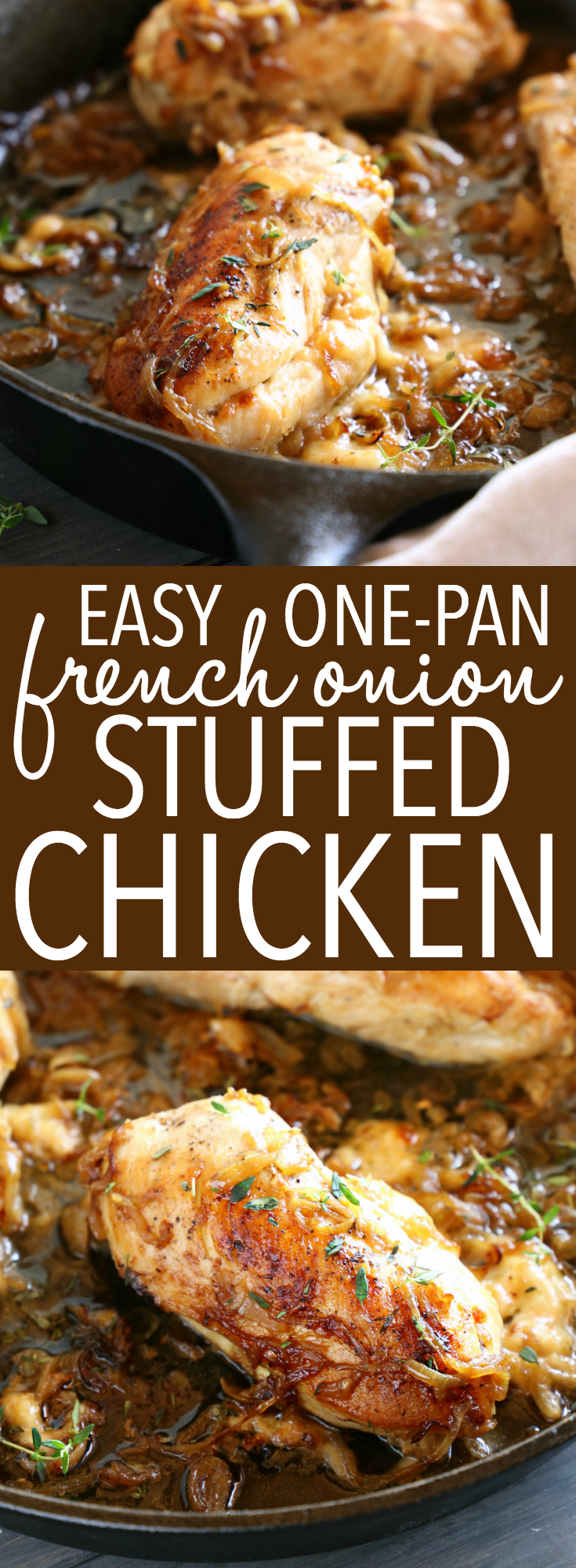 This Easy One Pan French Onion Stuffed Chicken is the perfect main dish recipe for French Onion Soup lovers! Juicy chicken breasts stuffed with sweet caramelized onions and gooey cheese!! Recipe by thebusybaker.ca! #frenchonionsoup #frenchonionchicken #chicken #stuffedchicken #maindish #easymeal #recipe #easy #castiron #dinner #dinnertimerecipe #cheese #cheesychicken #familymeal via @busybakerblog