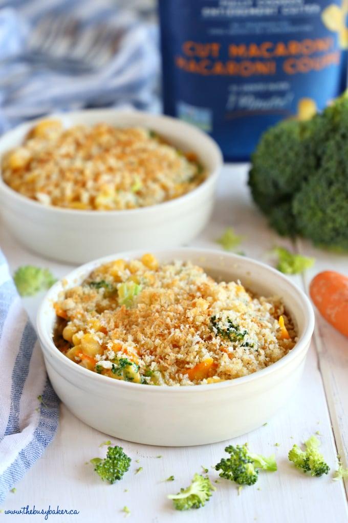Easy 15-Minute Vegetarian Macaroni and Cheese in white ramekin