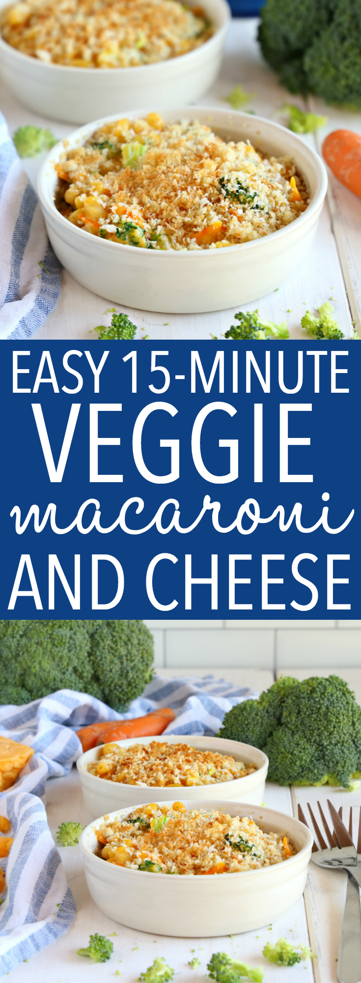 This Easy 15-Minute Vegetarian Macaroni and Cheese is the perfect quick and easy weeknight meal idea! It's packed with veggies and it's kid-friendly! Put a delicious meal on the table in 15 minutes! Recipe from thebusybaker.ca! #easy #vegetarian #veggie #macandcheese #healthy #healthymacandcheese #quick #family #meal #recipe #hiddenveggies #kidfriendly #macaroni #pasta #onepot #onepan