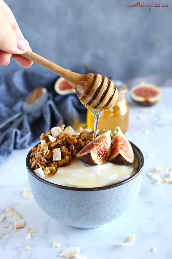 Healthy Honey and Fig Breakfast Bowls with Greek Yogurt and Honey