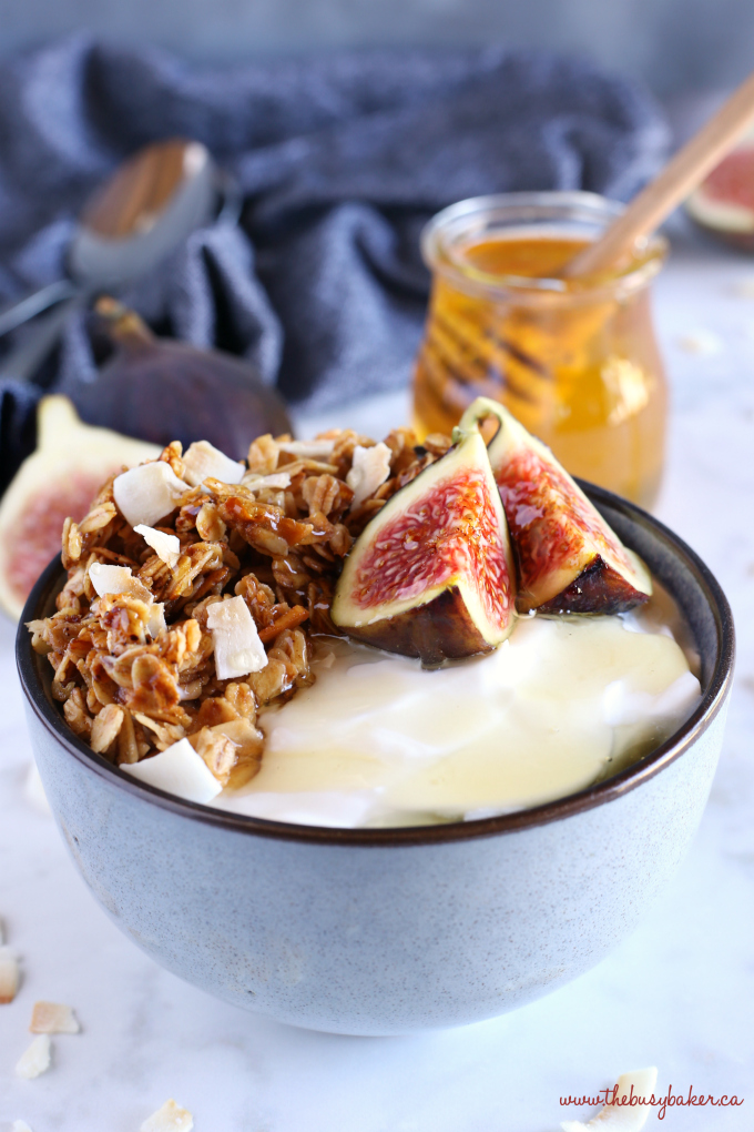 Healthy Honey and Fig Breakfast Bowls with fresh honey