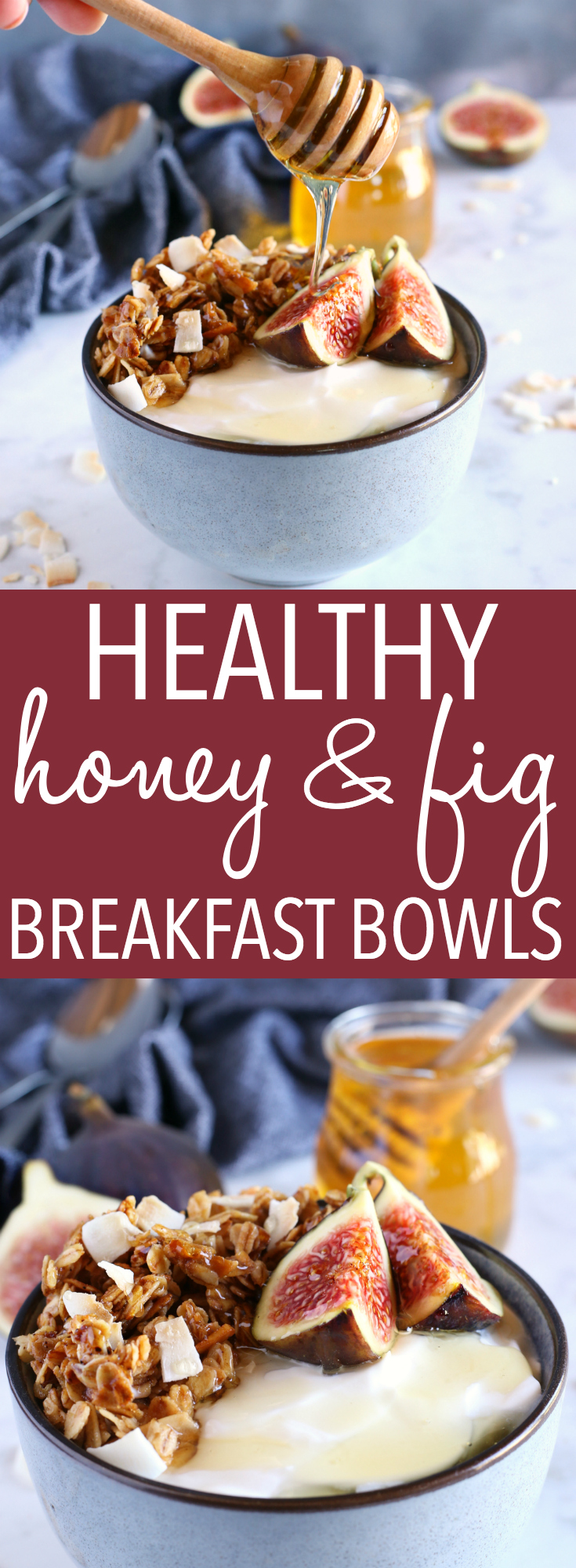These Healthy Honey and Fig Breakfast Bowls are the perfect quick and easy breakfast idea for busy mornings - they're packed with protein, healthy fats, fresh fruit and sweet honey! Recipe from thebusybaker.ca! #fig #figs #healthy #cleaneating #granola #breakfast #easy #recipe #eatclean #honey #vegetarian #dairyfree #coconut #musli #cereal #homemade via @busybakerblog