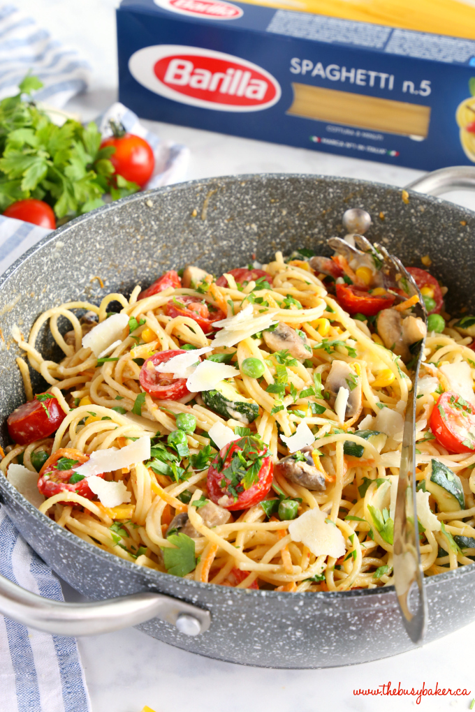 Easy One Pot Pasta Primavera in non-stick skillet