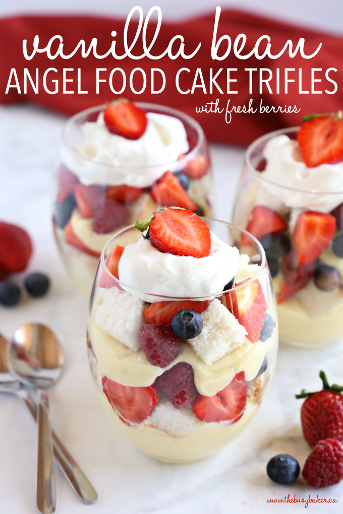 Vanilla Bean Angel Food Cake Trifles with Fresh Berries