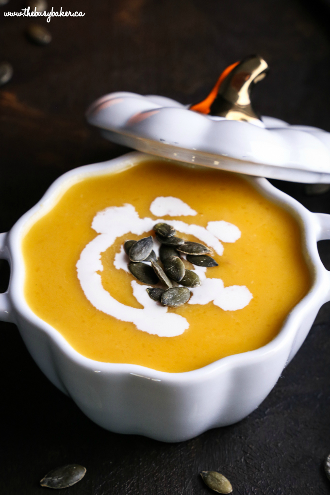 German-Style Pumpkin Soup with pumpkin seeds