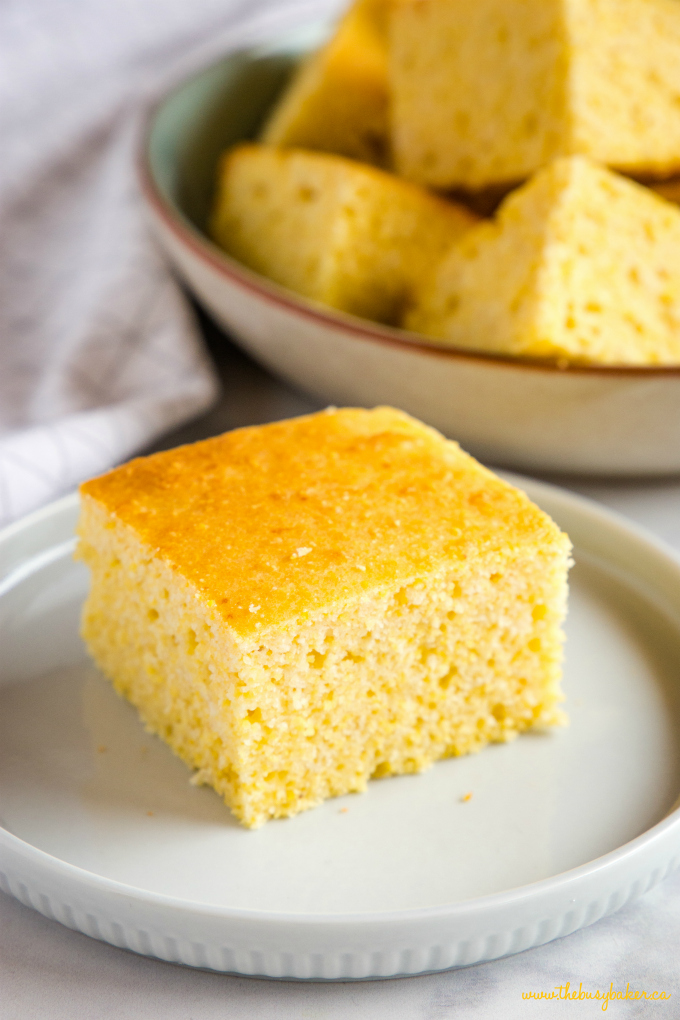Healthier Low Fat Cornbread on blue plate