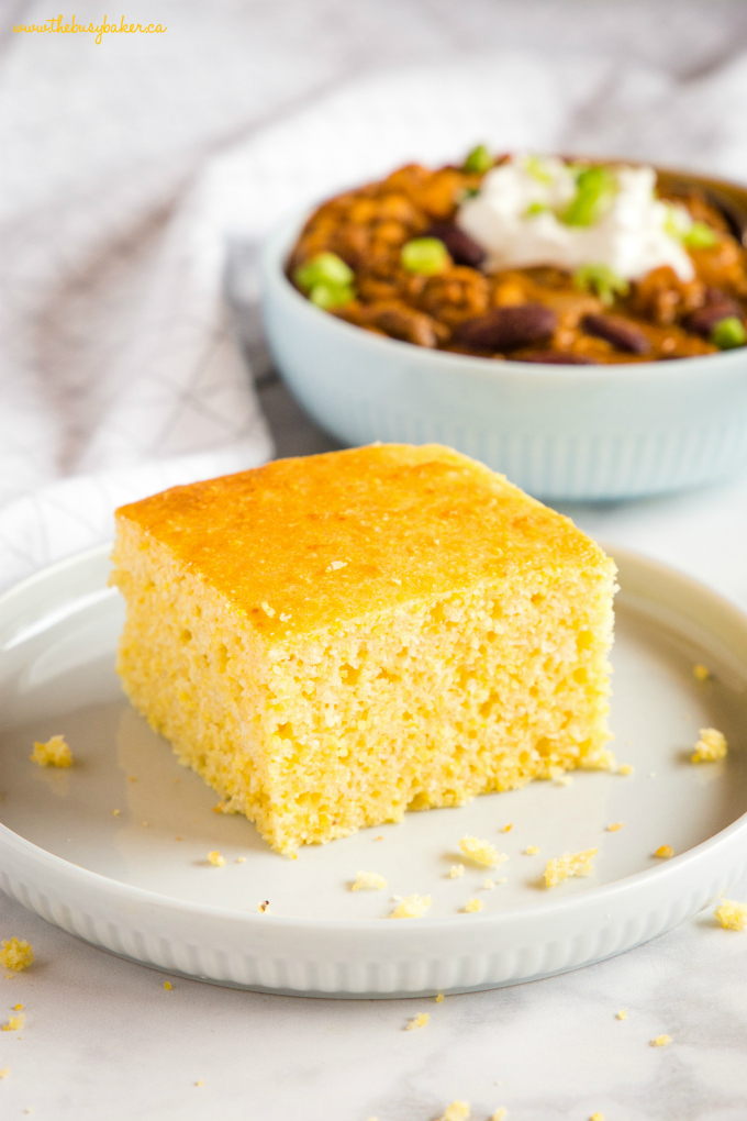 Healthier Low Fat Cornbread with chili