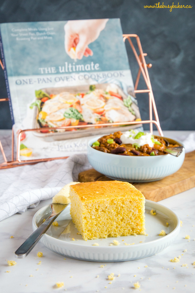 Healthier Low Fat Cornbread on plate with butter and chili
