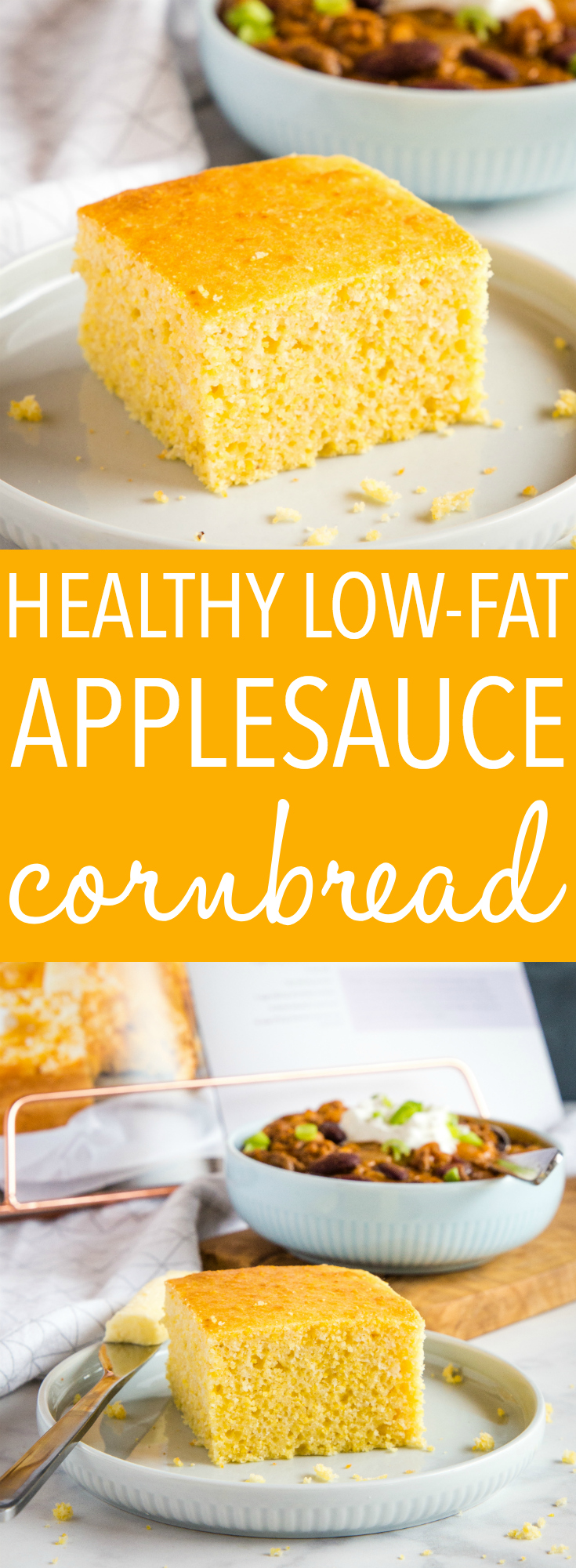 This Healthier Low Fat Cornbread is a wholesome alternative to traditional cornbread! It's light and tender and rivals any sweet cornbread recipe, with less fat and calories! Recipe from thebusybaker.ca! #cornbread #traditional #winter #comfortfood #fall #sidedish #bread #baking #applesauce #lowfat #lowsugar #light #weightwatchers via @busybakerblog