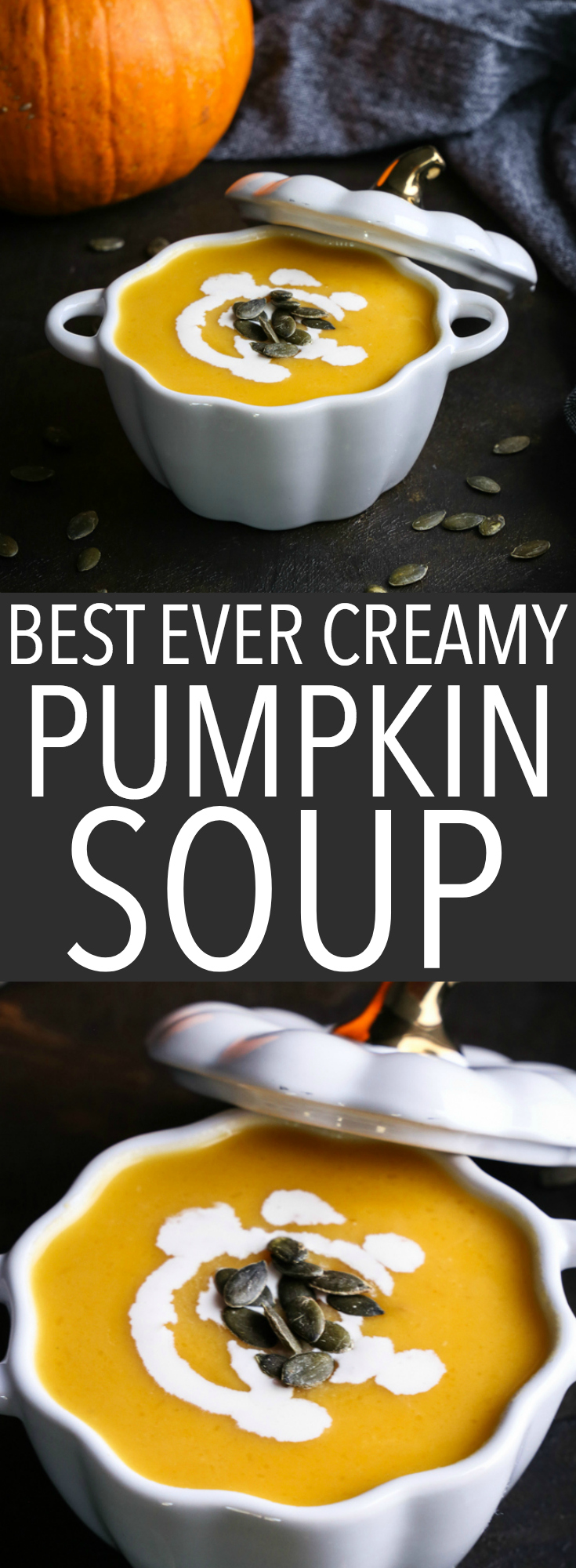 This German-Style Pumpkin Soup is velvety smooth and ultra creamy! It's made with fresh roasted pumpkin and a secret ingredient! Recipe from thebusybaker.ca #german #pumpkin #soup #kurbiscremesuppe #germanfood #international #culture #creamy #fall #autumn #comfortfood via @busybakerblog