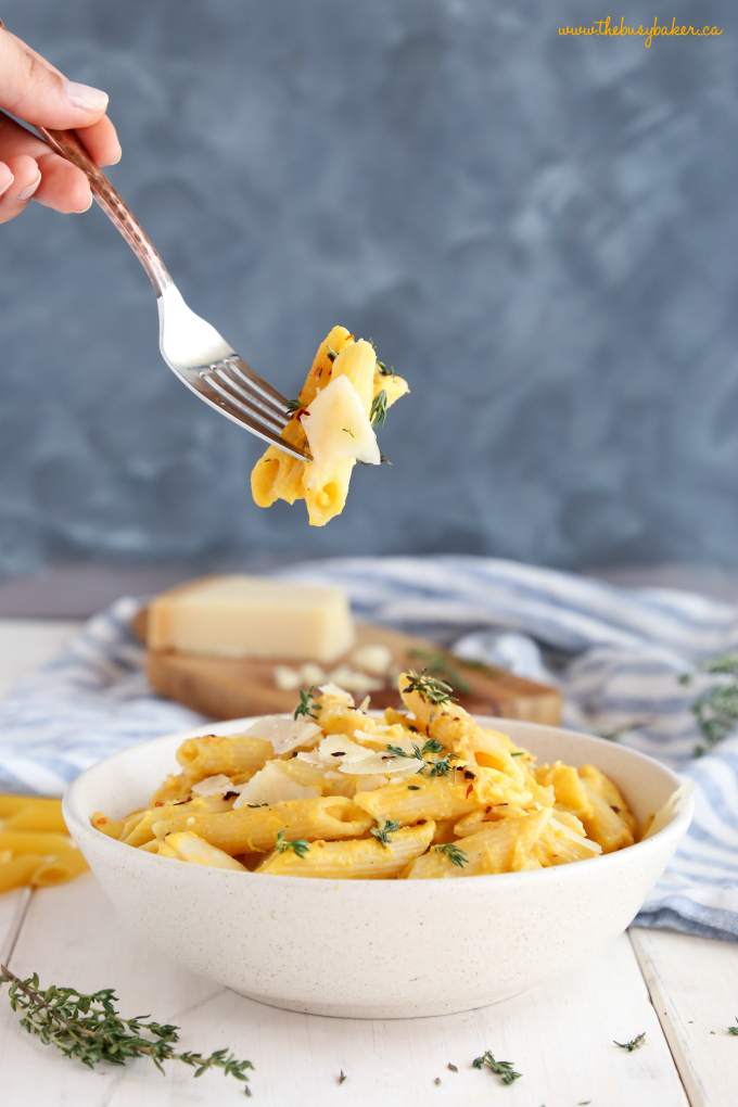 Creamy One Pot Butternut Squash Pasta in pasta bowl on fork