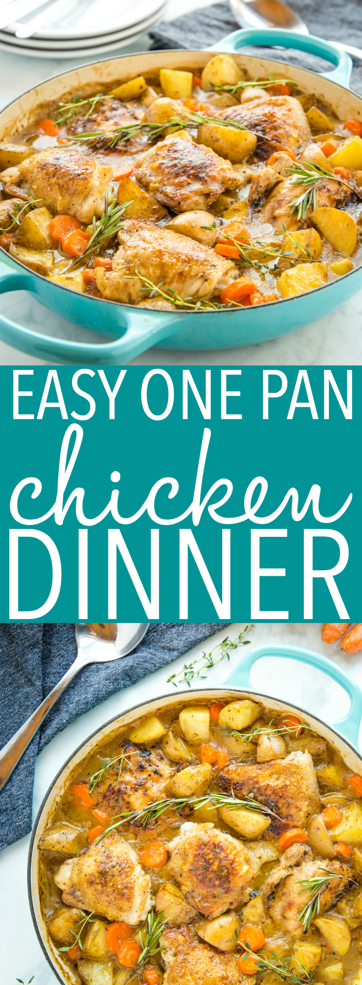 This Easy One Pot Roasted Chicken Dinner recipe is SO easy to make, and it's the perfect family meal with all the fixings and gravy, made in only one pan! Recipe from thebusybaker.ca #onepot #onepan #chicken #chickendinner #familymeal #sundaysupper #onepotmeal #weeknightmeal #easyrecipe #family #chickenandpotatoes #potatoes #vegetables #gravy #homemade via @busybakerblog