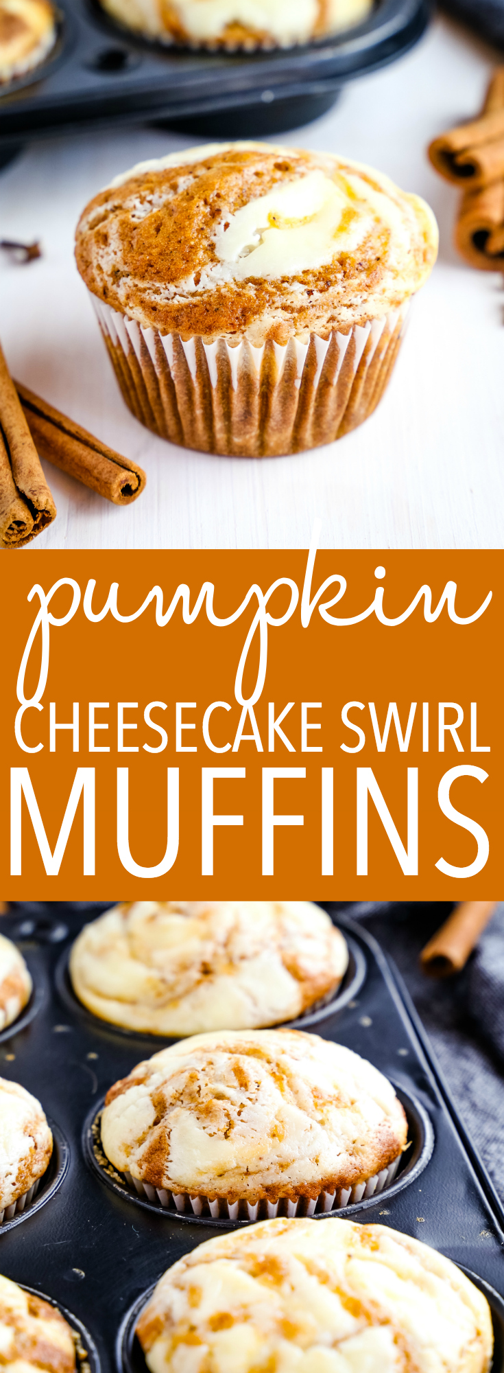 These Pumpkin Cheesecake Swirl Muffins are the perfect fall treat packed with delicious pumpkin spice flavours and a hint of cheesecake! Recipe from thebusybaker.ca! #pumpkin #fall #autumn #muffins #easyrecipe #homemade #pumpkinspice #foodblog via @busybakerblog