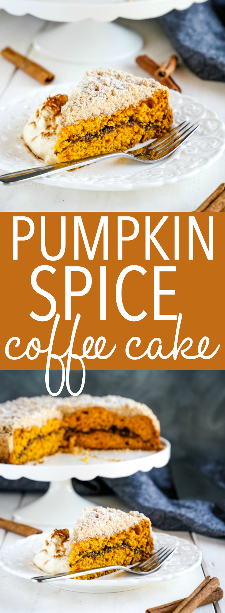 This Pumpkin Spice Coffee Cake is the perfect sweet treat for fall! It's an easy-to-make moist pumpkin cake with cinnamon sugar swirl and the perfect coffee cake crumble topping! Recipe from thebusybaker.ca! #pumpkin #pumpkinspice #cake #dessert #autumn #recipe #layercake #cinnamon #cinnamonsugar #sweet #treat #homemade #homesteading #coffee #coffeecake