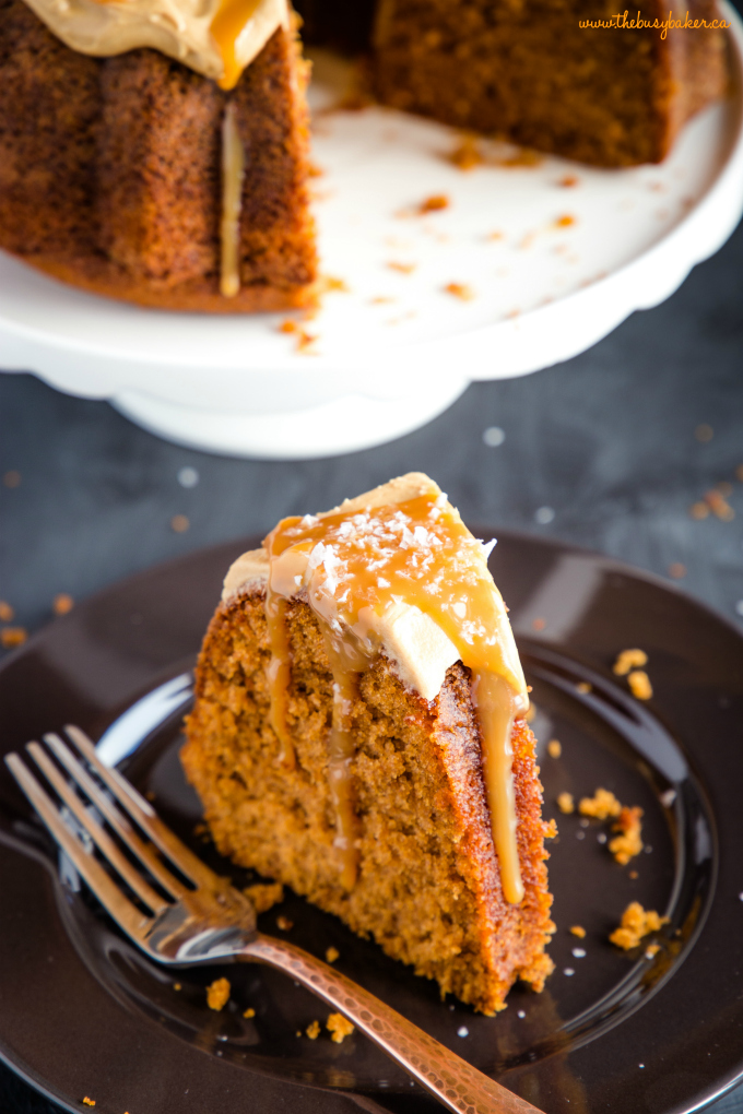 Best Ever Salted Caramel Pudding Cake with caramel sauce