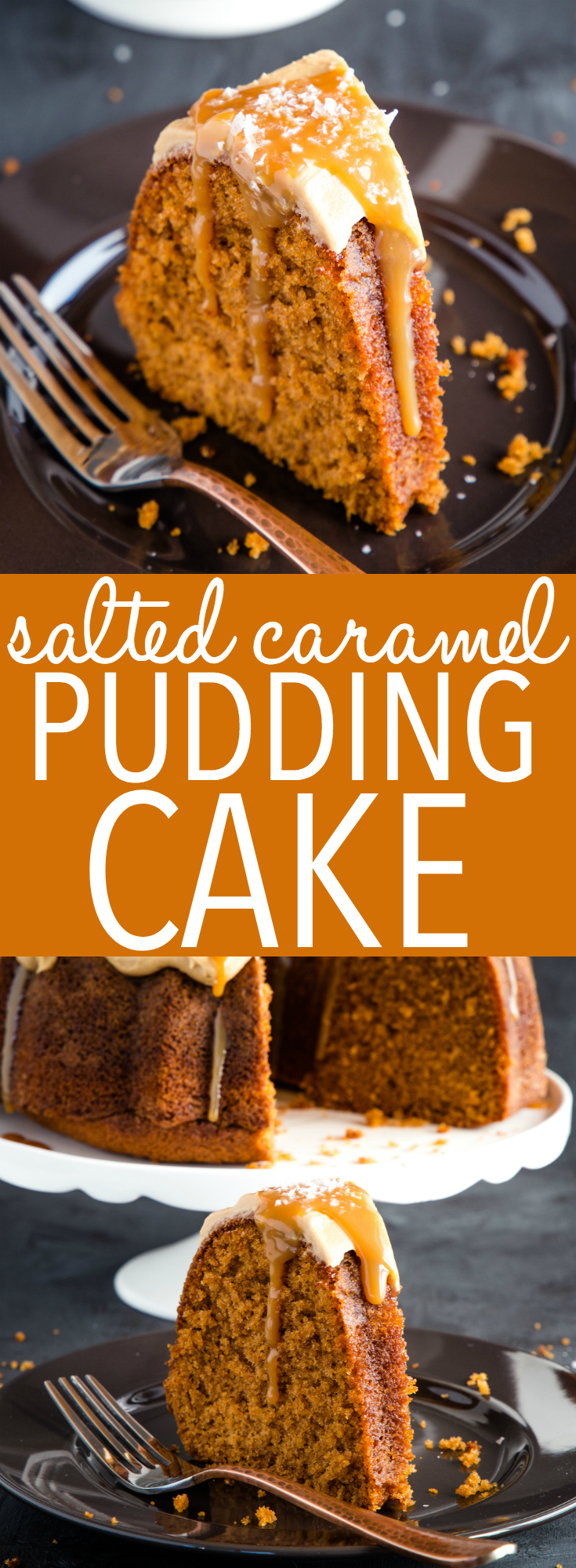This Best Ever Salted Caramel Pudding Cake is so moist and flavourful with the perfect balance of salty and sweet! A tender caramel-flavoured cake is topped with salted caramel frosting, caramel sauce, and flaked sea salt! Recipe from thebusybaker.ca! #saltedcaramel #caramel #cake #puddingcake #bundtcake #dessert #easyrecipe #easydessert #sweet #treat #simple #fall #winter #autumn  via @busybakerblog