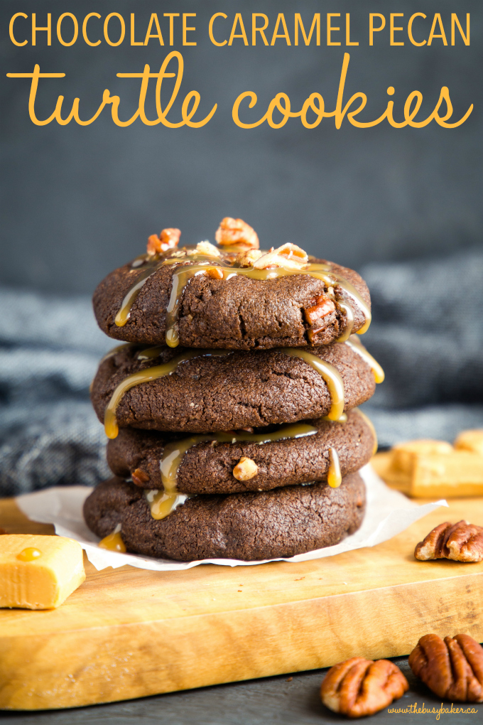 Chocolate Caramel Pecan Turtle Cookies in stack with caramel sauce and pecans