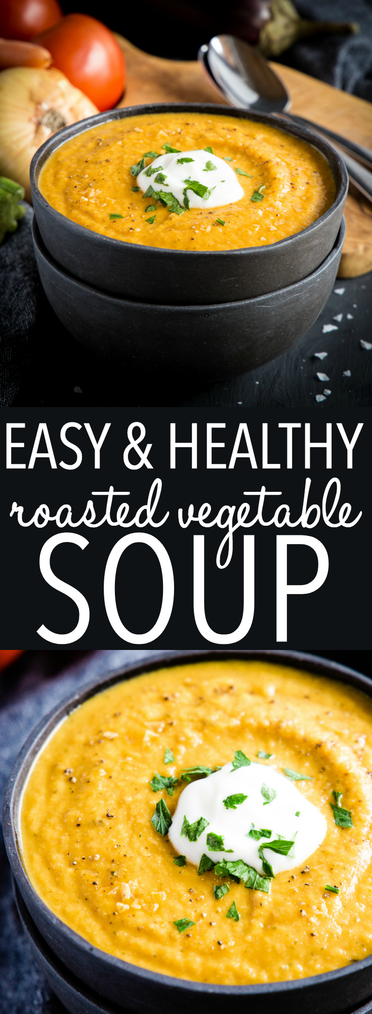 This Easy Healthy Roasted Vegetable Soup is a simple healthy soup recipe that's packed with freshly roasted seasonal vegetables! It's quick and easy to make! Recipe from thebusybaker.ca! #soup #autumn #fall #vegetables #vegetablesoup #vegetarian #vegan #roastedveggies #winter #weightwatchers #healthy #wholesome #coconut #keto via @busybakerblog
