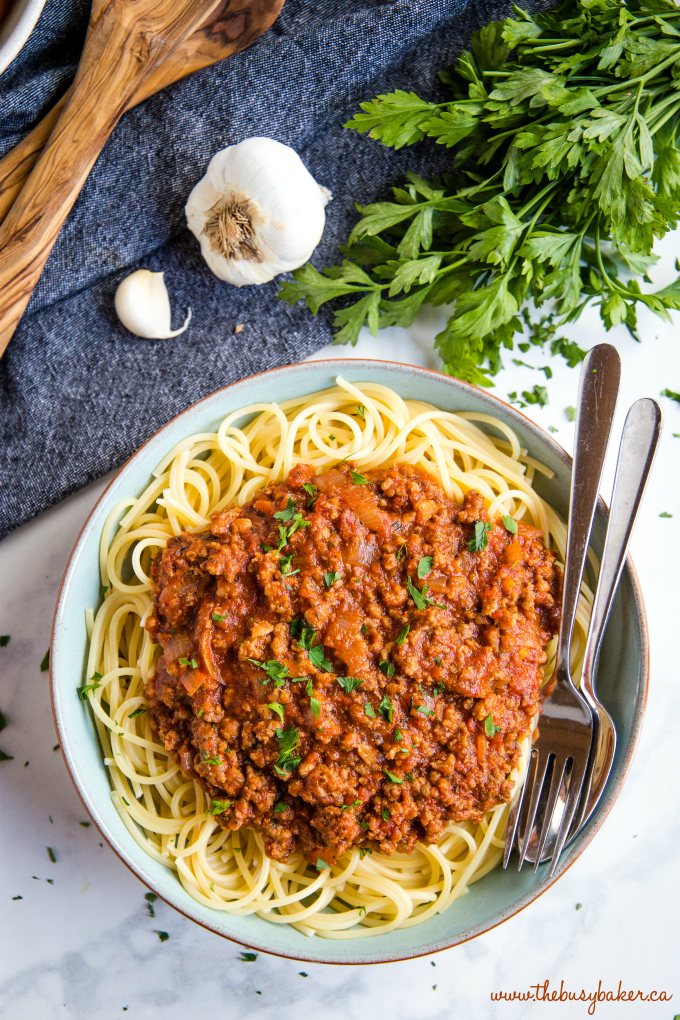 Best Ever Spaghetti and Meat Sauce in blue bowl