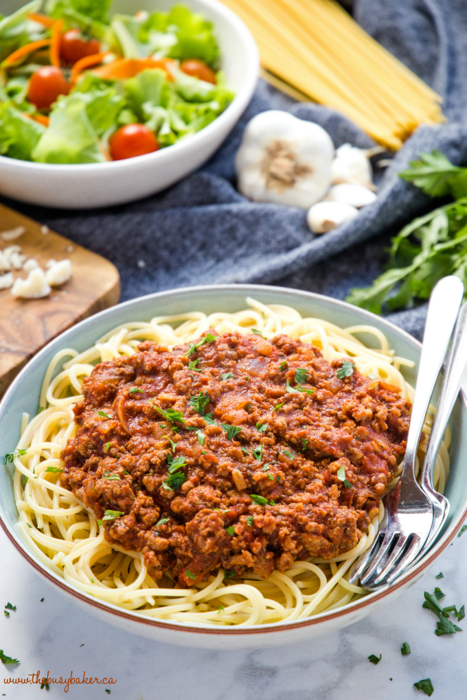 Best Ever Spaghetti and Meat Sauce recipe with salad