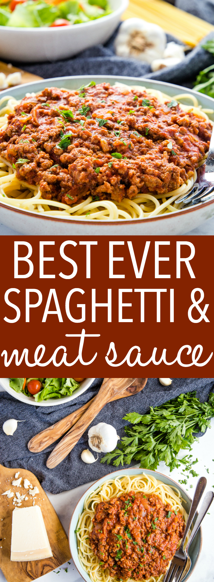 This Best Ever Spaghetti and Meat Sauce recipe is the perfect Italian-style weeknight meal for the whole family - a rich, meaty sauce served over your favourite pasta! Recipe from thebusybaker.ca! #spaghetti #meatsauce #pasta #spaghettisauce #dinner #mealidea #familymeal #foodblog #kidfriendly #foodforkids #restaurantrecipe #recipe