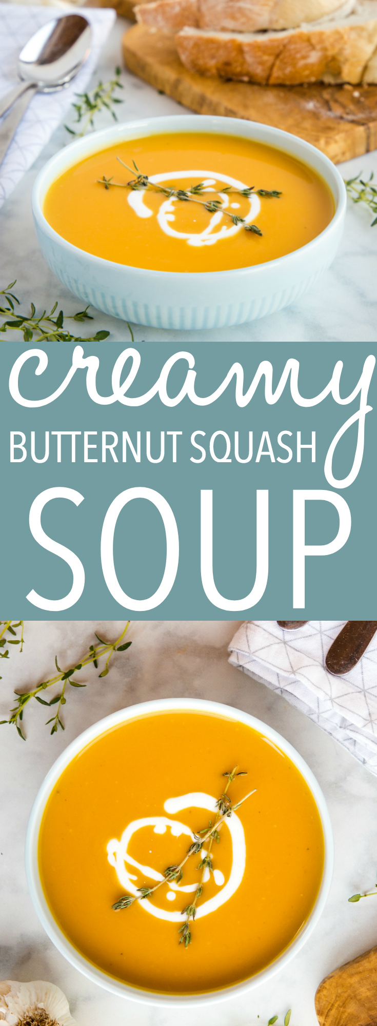 This Creamy One Pot Butternut Squash Soup is so easy to make and it's the perfect comforting soup for fall! And it's healthy, dairy-free, and vegan too! Recipe from thebusybaker.ca! #vegan #vegetarian #soup #easyrecipe #recipe #fall #autumn #winter #comfortfood #foodblog #onepot #butternutsquash #squash #pumpkin via @busybakerblog