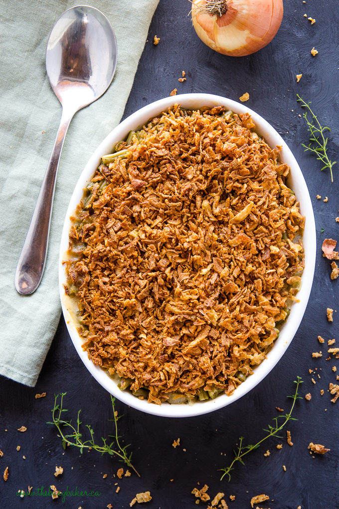 Easy Vegan Green Bean Casserole with green linens and thyme