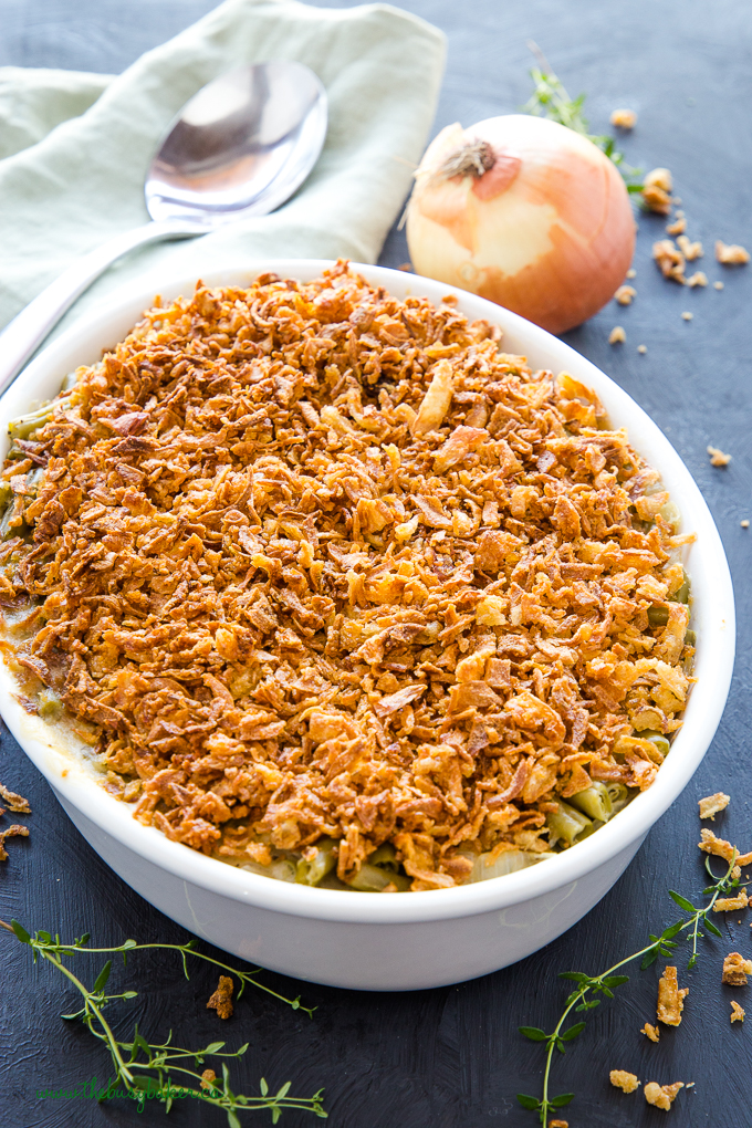 Easy Vegan Green Bean Casserole with onion and thyme