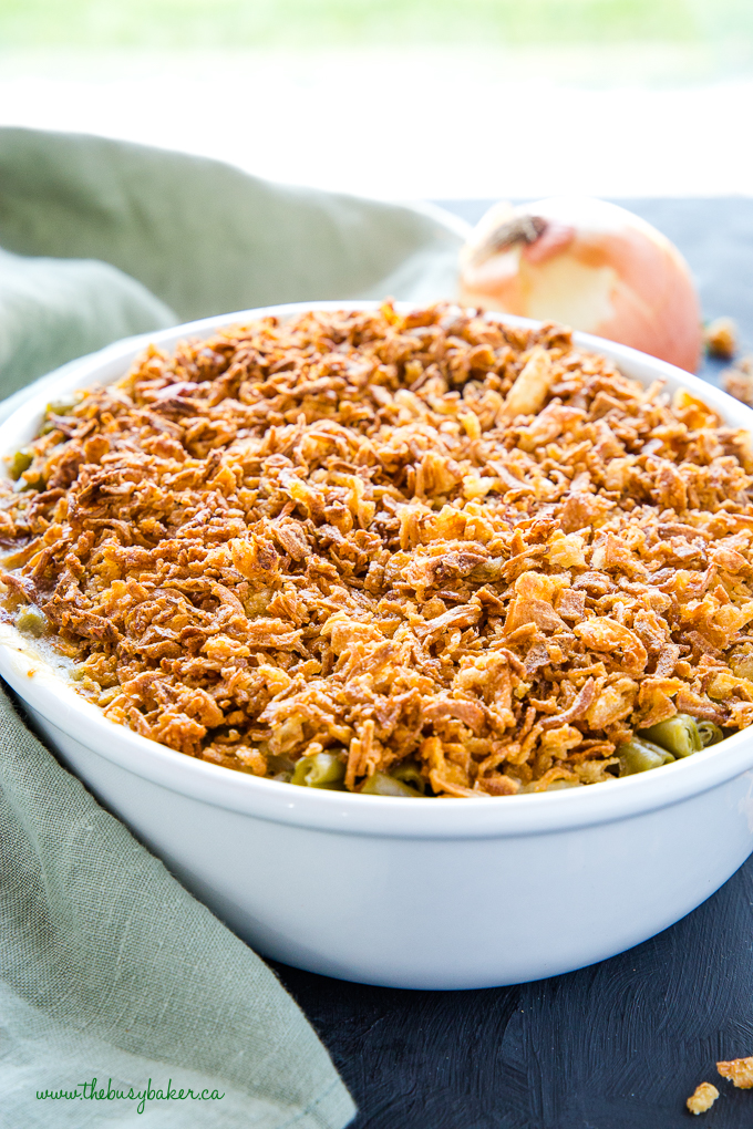 Easy Vegan Green Bean Casserole in white oval casserole dish