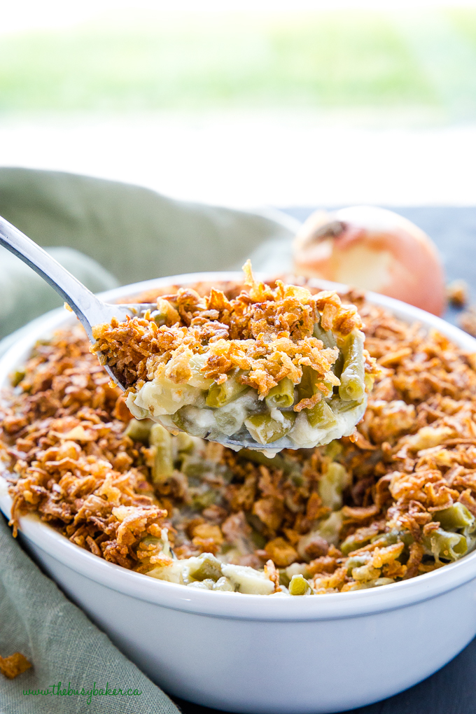 Easy Vegan Green Bean Casserole on serving spoon