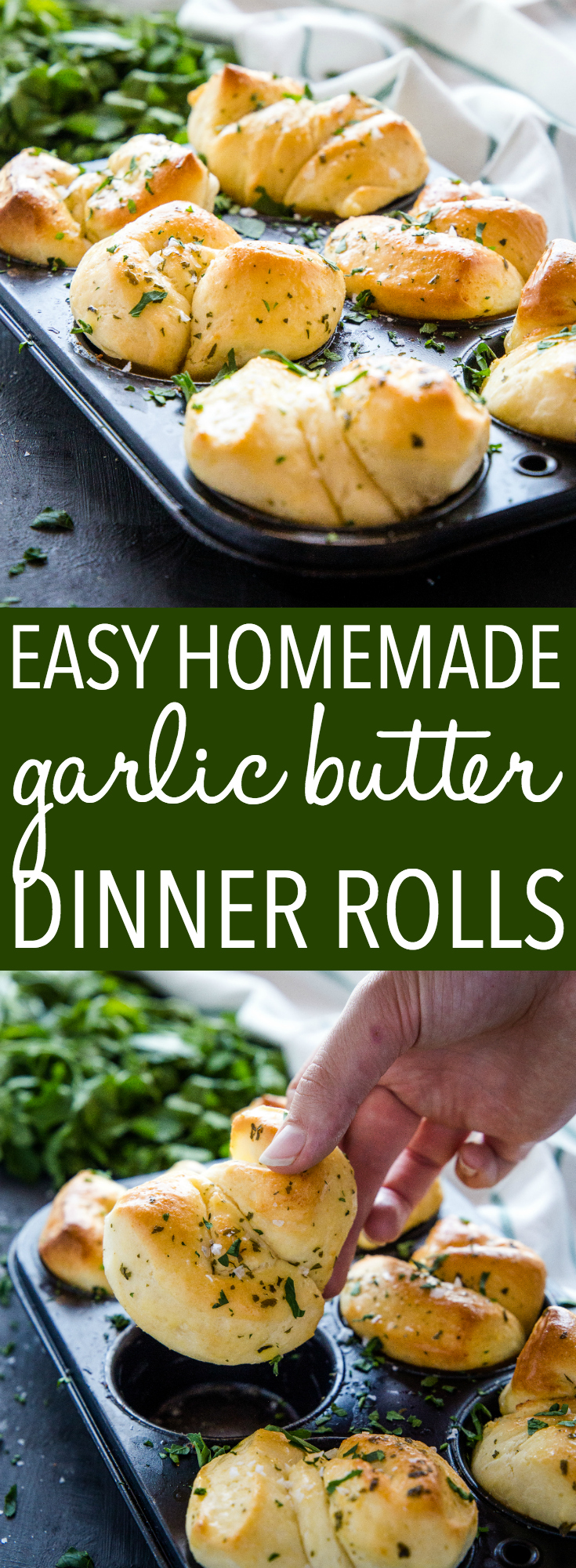 These Easy Homemade Garlic Butter Dinner Rolls are the perfect for your Sunday dinner or holiday table! Made from an simple dough, garlic butter and sea salt! Recipe from thebusybaker.ca! #dinnerrolls #thanksgiving #holiday #christmas #dinner #homemade #fromscratch #comfortfood #buns #garlic #butter #seasalt #garlicrolls #garlicknots via @busybakerblog