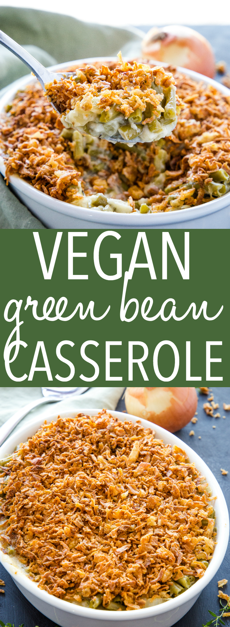 This Easy Vegan Green Bean Casserole is the BEST from-scratch classic Thanksgiving or Christmas side dish you'll ever taste! No canned soup and no dairy! Recipe from thebusybaker.ca! #thanksgiving #christmas #sidedish #dinner #familymeal #greenbeancasserole #winter #fall #comfortfood #casserole #holiday #recipe #foodblog #vegan #dairyfree #healthy via @busybakerblog
