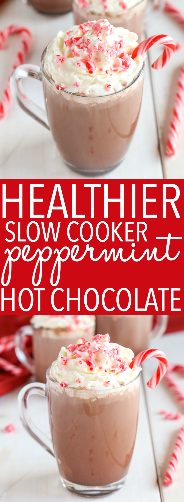 This Healthier Slow Cooker Peppermint Hot Chocolate is the perfect kid-friendly warm drink recipe for those cold winter days - made with only 4 ingredients! Recipe from thebusybaker.ca! #hotchocolate #peppermint #drink #slowcooker #crockpot #kidfriendly #family #winter #hotdrink #homemade #recipe #starbucks #copycat via @busybakerblog