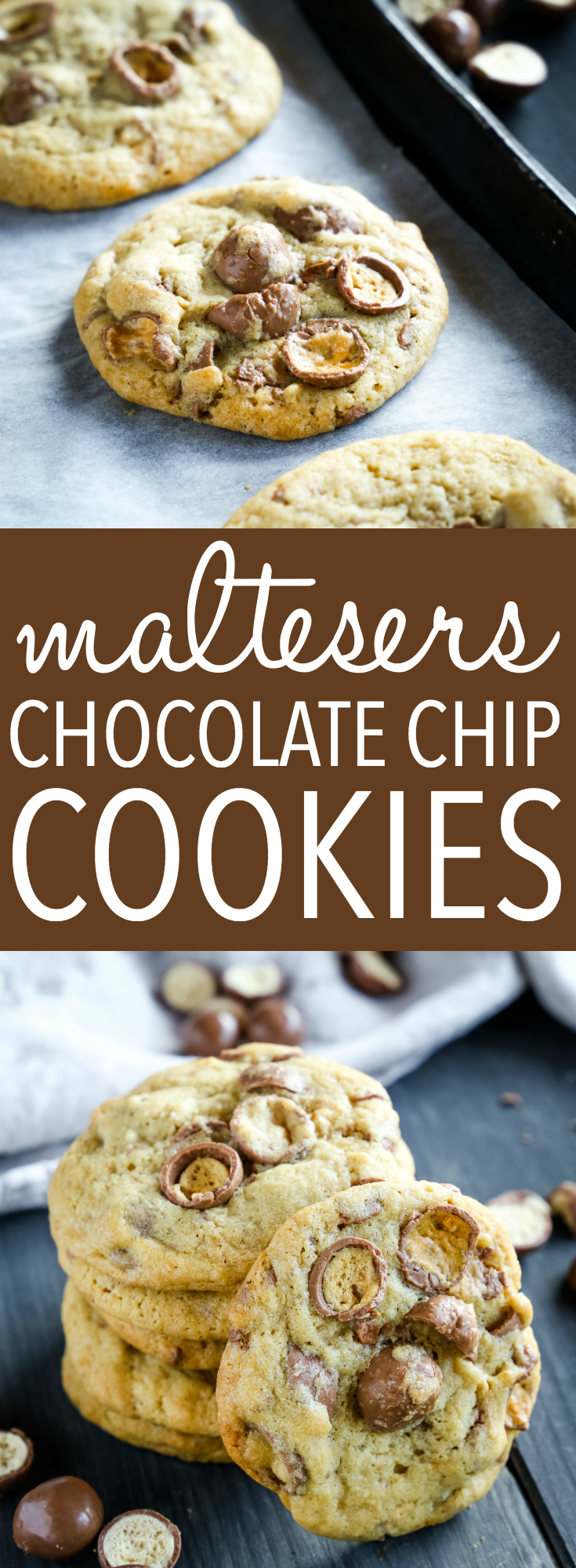 These Maltesers Chocolate Chip Cookies are the perfect homemade treat for Maltesers lovers! A tender, chewy cookie made with everybody's favourite malted milk chocolate balls! Recipe from thebusybaker.ca! #maltesers #maltballs #maltedmilk #malt #malt #candy #chocolate #chocolatebar #candybar #chocolatechips #chocolatechipcookies #cookies #dessert #snack #easyrecipe #homemade