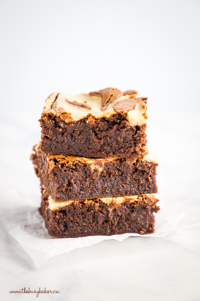 Mocha Cheesecake Brownies in stack