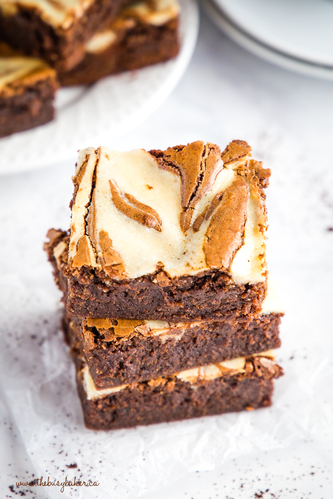 Mocha Cheesecake Brownies with swirl pattern