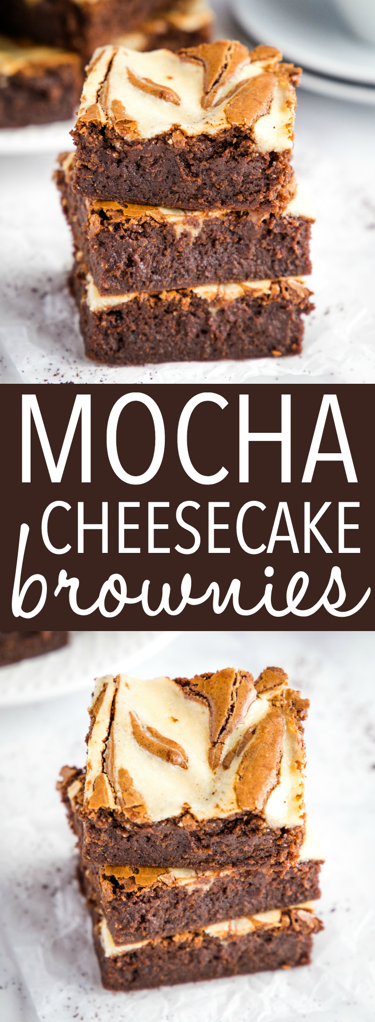 These Mocha Cheesecake Brownies are every chocolate and coffee lover's dream dessert! They're easy to make and they're so moist and chewy! Recipe from thebusybaker.ca! #mocha #cheesecake #brownies #dessert #chocolate #coffee #homemade #recipe #foodblog #cocoa via @busybakerblog